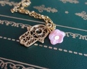Gold Hamsa Charm and Pink Flower Necklace
