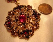 Vintage Ruby Red Rhinestone Necklace with Matching Clip Earrings