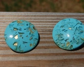 Large Turquoise Vintage 1960s Clip On Earrings