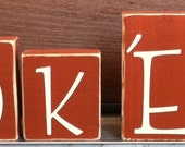 Texas Longhorns Hook 'Em Wooden Decor Blocks. Perfect For Longhorn Fans.