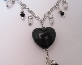 Black and Crystal Necklace and Earring Set, Valentine Hearts Jewelry, Goth Love