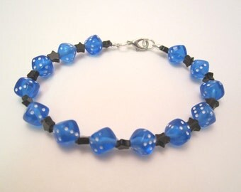 Blue Dice and Black Stars Bracelet, Gamer Chic, Geek Style Made To Order