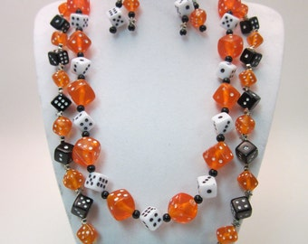Orange Black and White Dice Jewelry Set with Silver Stars, Gamer Chic, Gift Set, Dungeons and Dragons