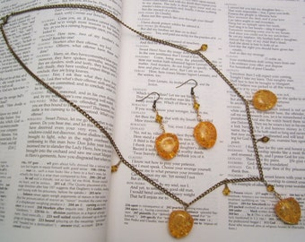 Amber Pendant Necklace and Earrings on Brass