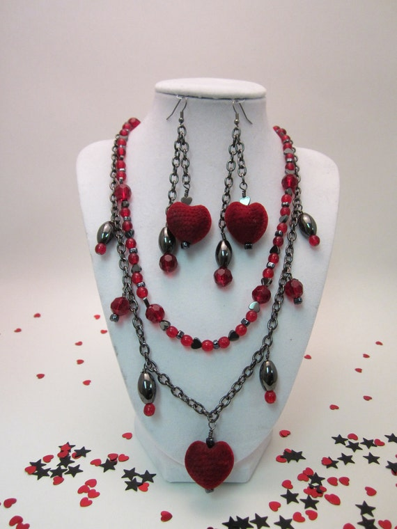 Valentine's Jewelry Set, Red and Black Hearts, Necklace and Earring Gift Set, Goth Love