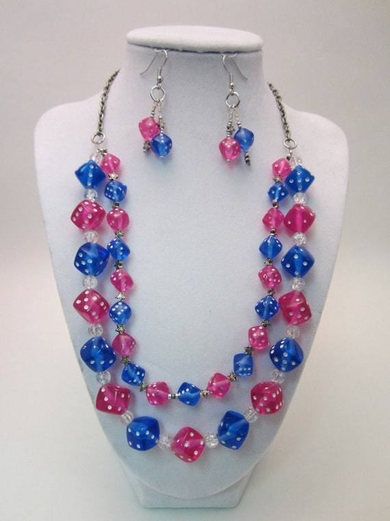 Pink and Blue Dice Jewelry Set with Silver Stars, Gift Set, Gamer Chic, Dungeons and Dragons