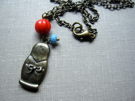 Babushka Doll Necklace with Tiny Beads