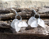 Hawaiian Clear Beach Glass Tri-Charm Dangle Earrings