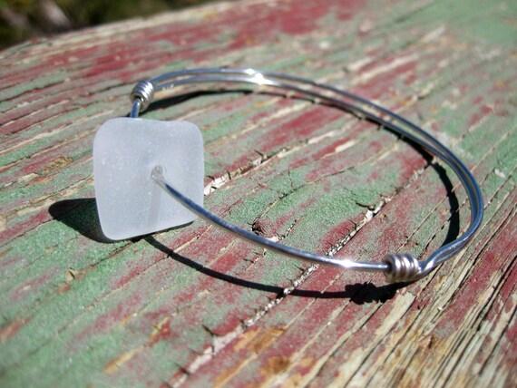 Hawaiian Unique Square Clear Beach Glass Wire Bangle Bracelet