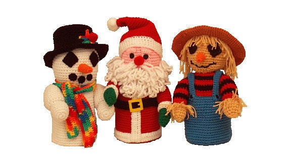 PDF Amigurumi Pattern - Crochet Pattern Bathroom Christmas, Scarecrow Toilet Paper Covers - PDF Pattern Td creations