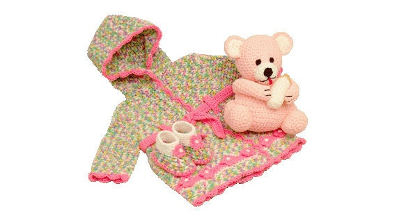 Crochet Baby Robe Pattern : PDF Crochet Baby Pattern For Infant Robe Crochet Booties And