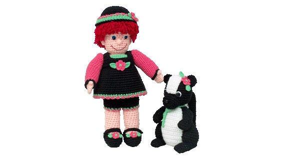 "PDF Amigurumi Doll Pattern - Crochet Doll Pattern - 18"" Ellie And 10"" Skunk - PDF Pattern (7400) Td creations"