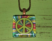Multicolor Peace Symbol 1 inch square glass pendant with chain