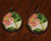 Pink Heirloom Flower Leverback Earrings