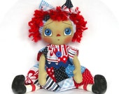 Primitive Raggedy Ann Doll-Patriotic-Red White And Blue