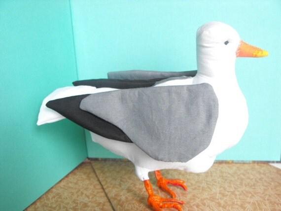 Seagull soft sculpture bird