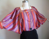 Gypsy Boho Blouse winged sleeves, stripes