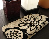 Pencil Case / Small Pouch, natural linen with black felt floral pattern