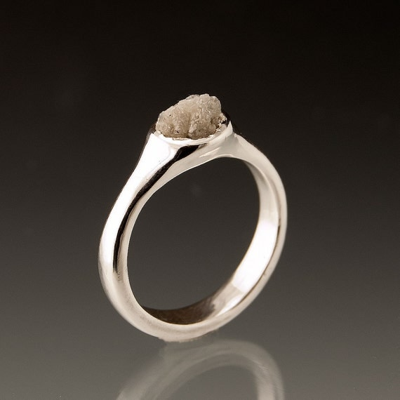 Rough Diamond Pebble Engagement Ring in Sterling Silver