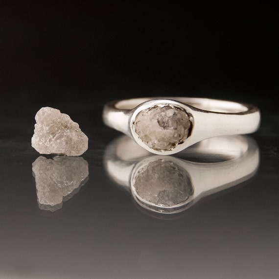 Rough Diamond Pebble Engagement Ring in Silver