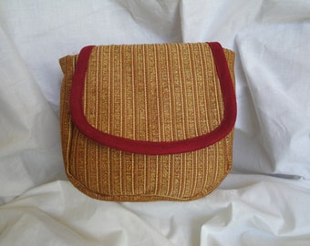Spacious Red and Gold Striped Belt Pouch