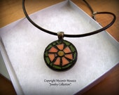 Mosaic Peach Flower Pendant (Stained Glass) FREE SHIPPING