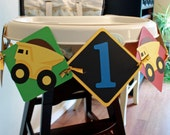 Construction Theme, Dump Truck First Birthday Highchair Birthday Banner