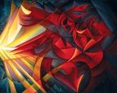 Fine Art Print of Surreal Cubist painting, 14 x 11, Light Warrior, by Tiffany Davis-Rustam