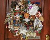 XXL Classic Americana Christmas Wreath lots of Vintage epherma ornaments, 60's-70's-80's--Adorable vintage Elf center