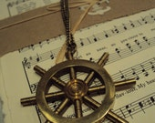 The ancient mariner -  Nautical brass ship steering wheel necklace