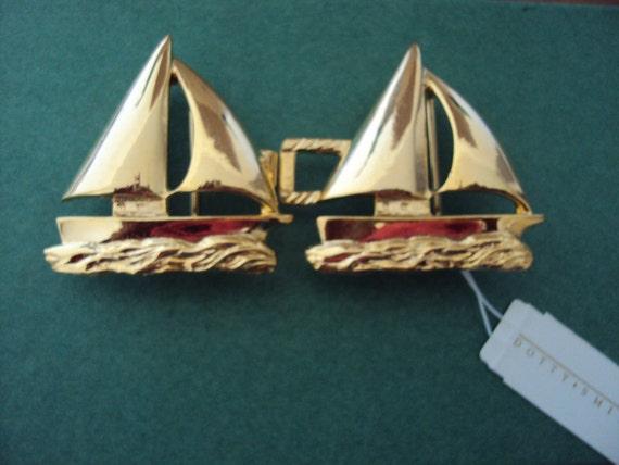 80s Dotty Smith Nautical Theme Boat Gold Belt Buckle
