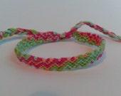 Friendship Bracelet - Pink, Green, Blue 'ZigZag' Adjustable