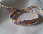Friendship Bracelet - Multicoloured Pastel 'ZigZag' Adjustable