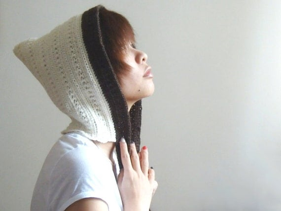 Unisex Adult Crochet Pixie Hat, Crochet Hood, Pixie Hood In Cream and Brown, Winter Fashion - lapuzelo