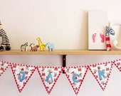 Personalized cowboy bunting (Cath Kidston fabric) nursery decoration