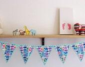 Custom order for EMMA BURNETT Personalized Zoo print bunting for baby nursery
