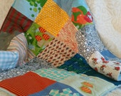 Custom order for Sara Taub: Stroller quilt/ baby playmat in baby blue with fish motifs