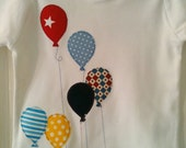 Boy Balloon appliqued organic T-shirt toddler sizes in bright blues and patterns