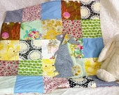 Reserved for Connie: Easter bunny rabbit Stroller quilt/ baby girl playmat in Spring time yellows, pinks and greens