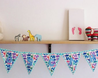 SAMPLE SALE!*** Personalized Zoo print bunting. Boys Nursery Decor