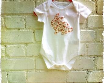 Baby girl floral rose pink rabbit onesie babygro