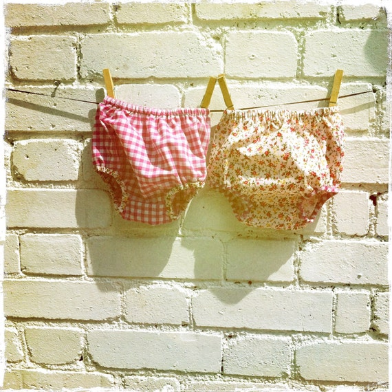 Baby Diaper cover set - pink gingham & rose floral