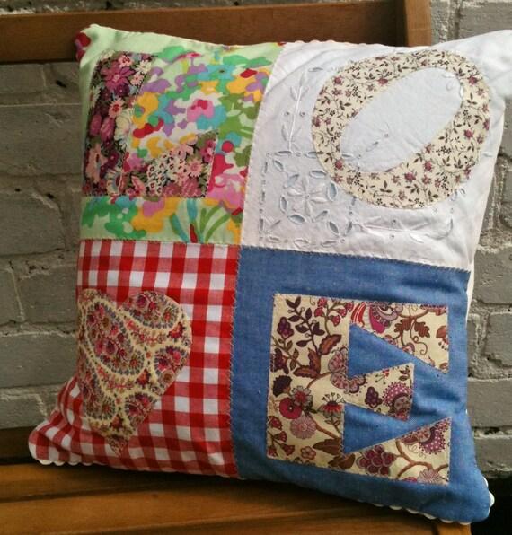 Patchwork applique LOVE cushion pillow