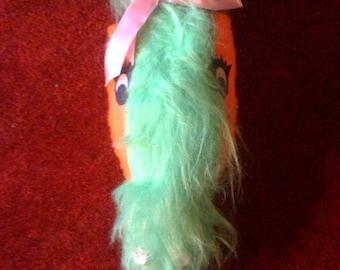 1960s vintage green fake fur snake stuffed animal