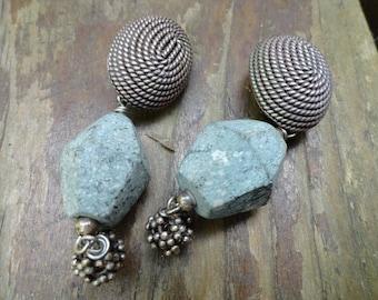 Pewter, green stone LV earrings