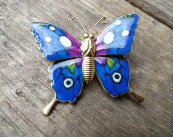 Vintage blue enamel cloisonne  butterfly pin