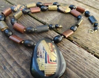 vintage stone pendant ceramic bead necklace