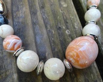 vintage peach tones lucite bead necklace