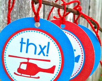 Printable Favor Tags - Helicopter Party - INSTANT DOWNLOAD - amy patrick prints