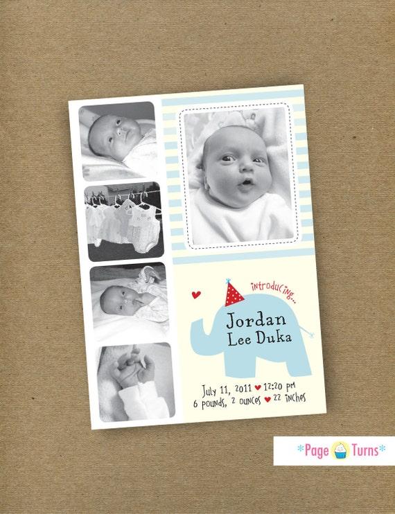 Custom Elephant Photo Birth Announcement or First Birthday Collage Card / Baby Girl & Baby Boy / DIY